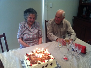 Grandma and grandpa on grandma's 90th birthday