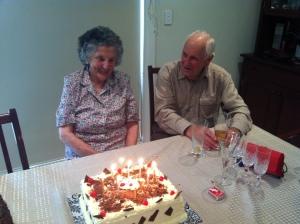 Grandma and grandpa on grandma's 90th birthday