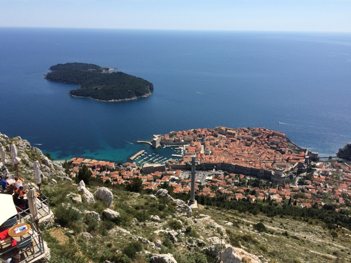 View from the cable car restaurant, looking down over Old Dubrovnik