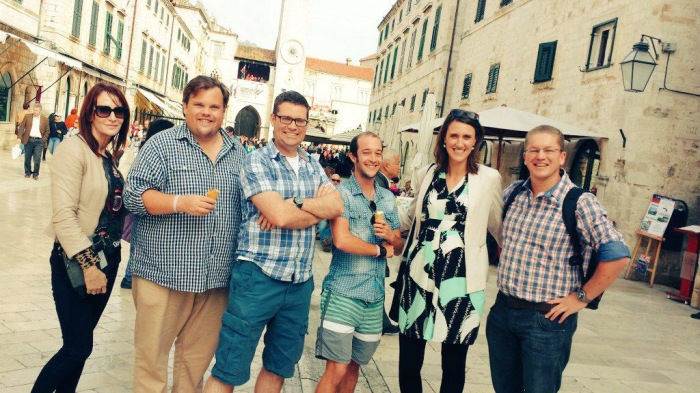Caught up for lunch and walked down The Stradun in Old Dubrovnik with Kate Marie, David Townsend, Dr. David Hogg, Dr. Aaron Sparshott, me and Dr. Klaus von Pressentin