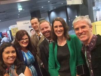 Trying out a selfie stick at the conference - Nicole Bonne (GPRA), Nicola Campbell, (GPSN), Cameron Adams (GPRA), Dr. Gerry Considine (GPRA Vice Chair), me, Dr. Justin Coleman (medical writer)